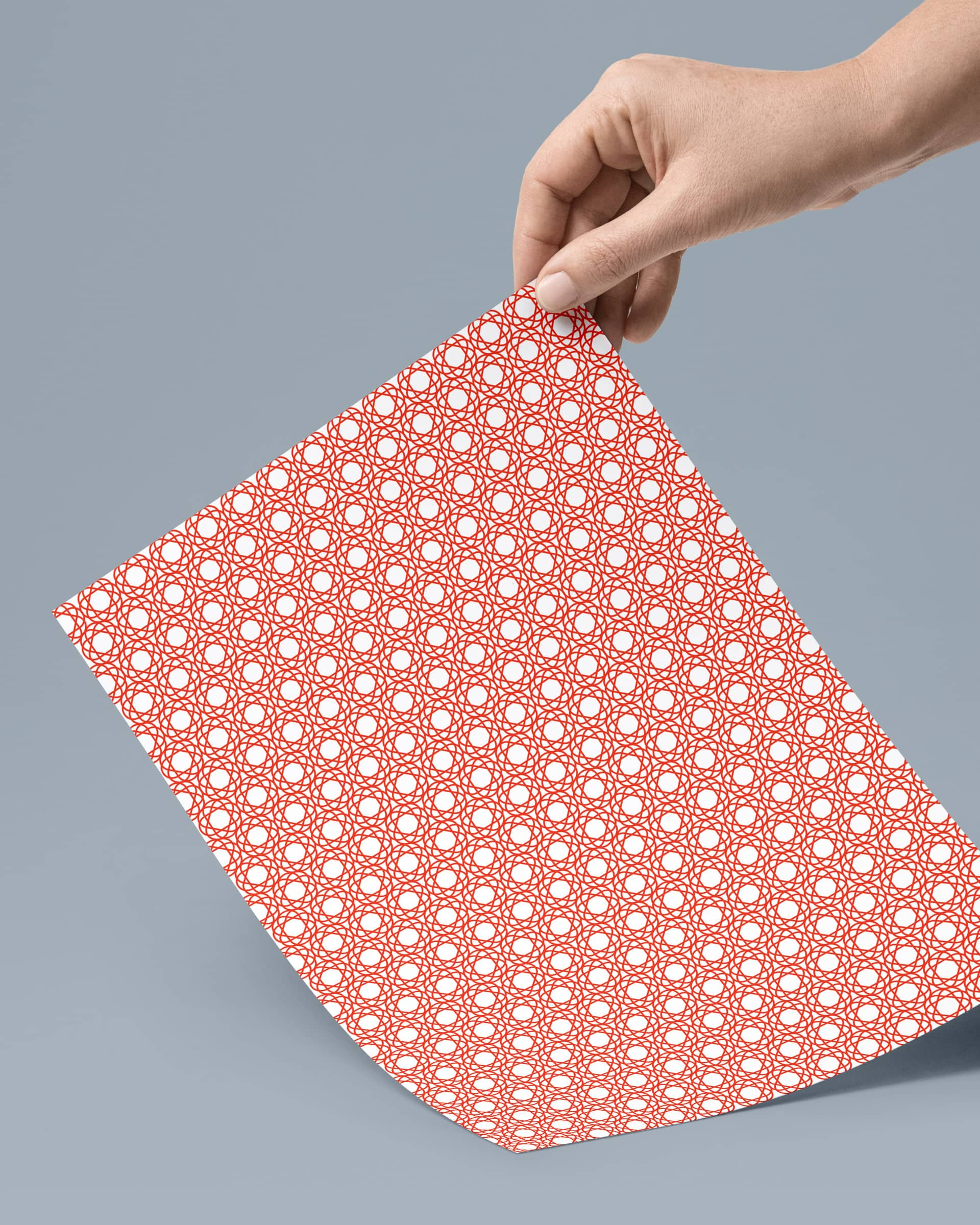 Red geometrical pattern design printed on paper