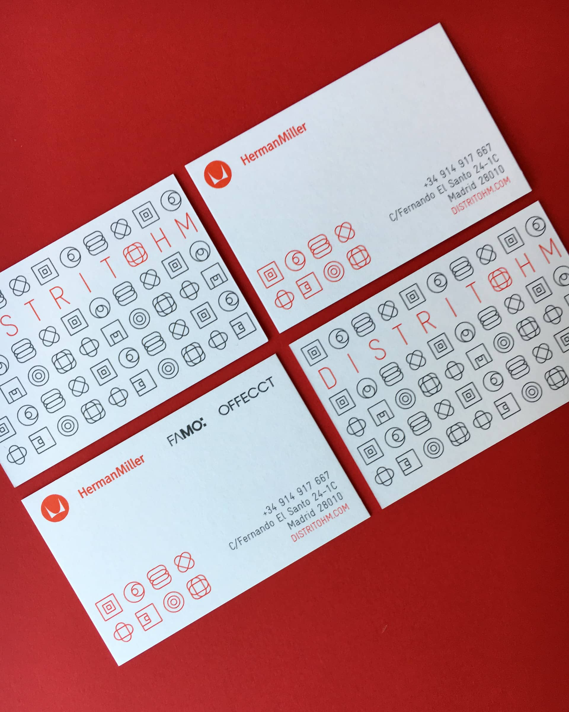 Distrito HM business cards design with Herman Miller, Offecct and Famo logos