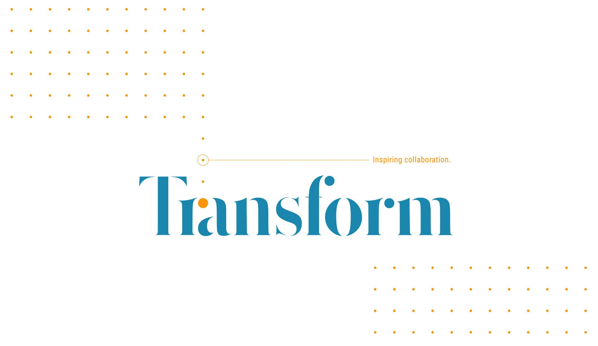 Transform blue and mustard logo with Inspiring Collaboration tagline