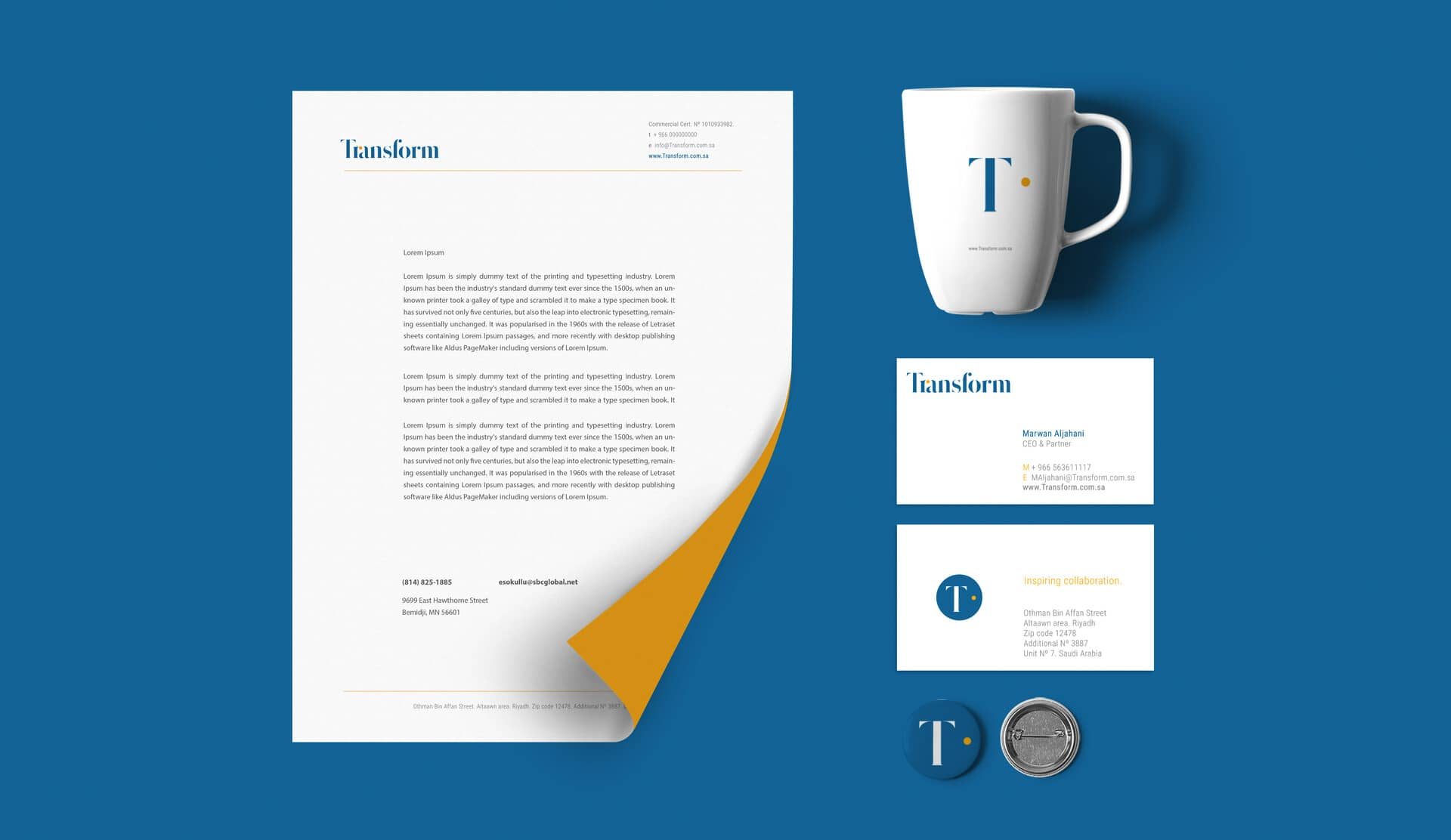 Brand applications flat lay: letterhead, mug, business cards and button badge