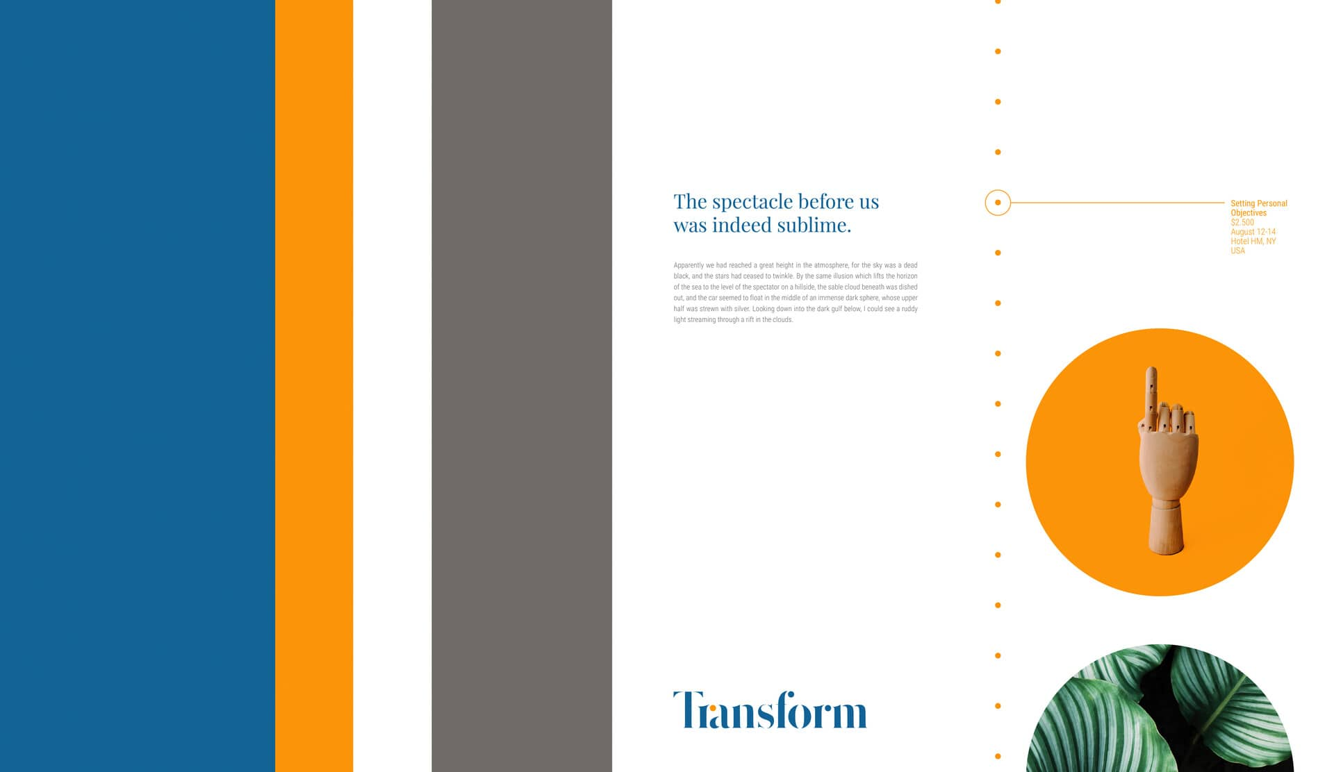 Transform Presentation Slide with branded color stripes and circular shapes